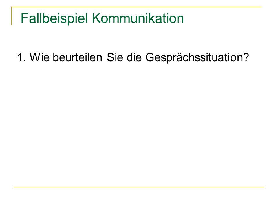 Fallbeispiel Kommunikation Kommunikationsquadrat (Schulz von Thun) Jede Äußerung enthält vier Botschaften gleichzeitig: -Sachinformation (Worüber informiere ich?) -Selbstkundgabe (Was gebe ich von mir zu erkennen?) -Beziehungshinweis (Was halte ich von dir.