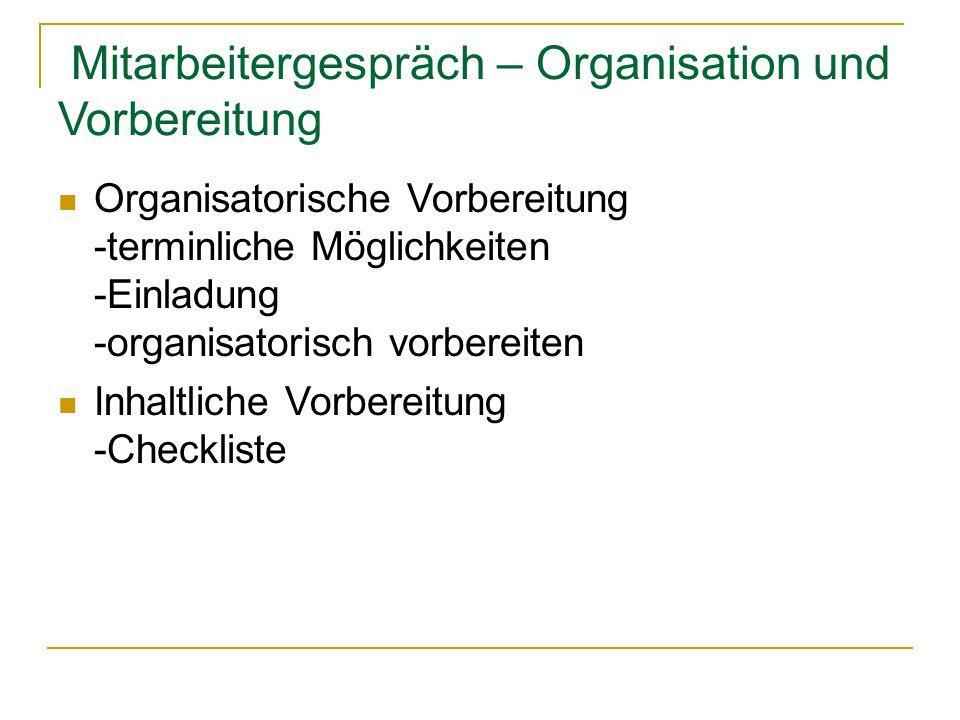Mitarbeitergespräch – Organisation und Vorbereitung Organisatorische Vorbereitung -terminliche Möglichkeiten -Einladung -organisatorisch vorbereiten I