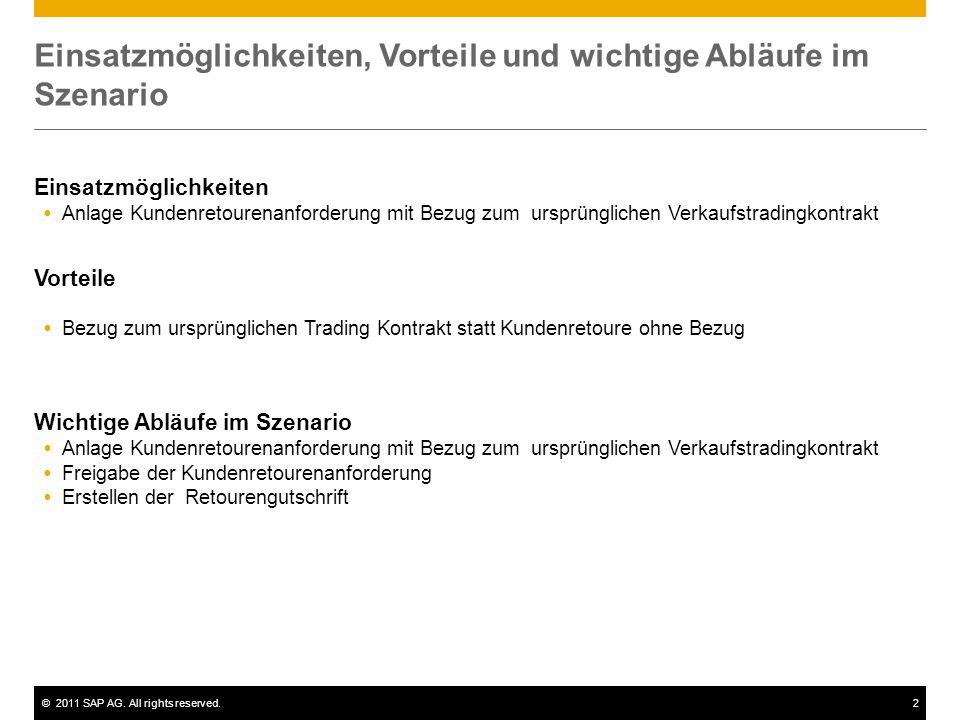 ©2011 SAP AG. All rights reserved.2 Einsatzmöglichkeiten, Vorteile und wichtige Abläufe im Szenario Einsatzmöglichkeiten  Anlage Kundenretourenanford