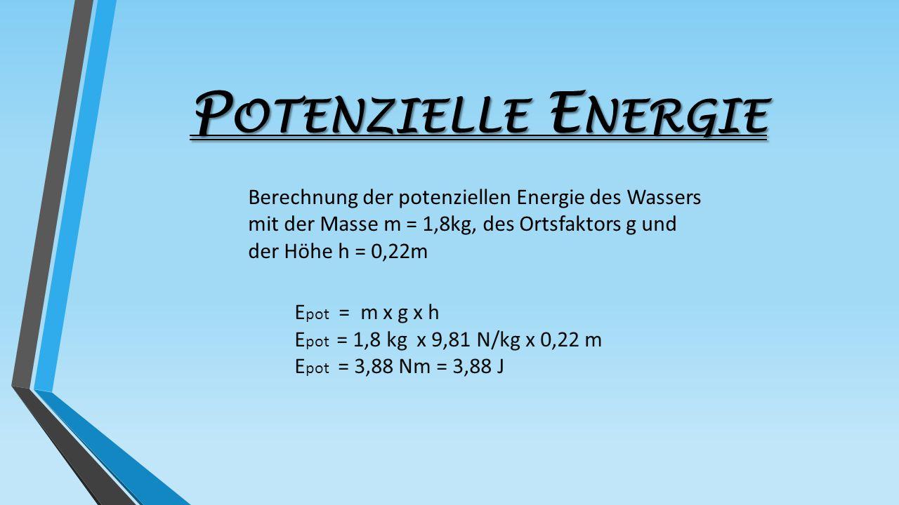 P OTENZIELLE E NERGIE E pot = m x g x h E pot = 1,8 kg x 9,81 N/kg x 0,22 m E pot = 3,88 Nm = 3,88 J Berechnung der potenziellen Energie des Wassers m