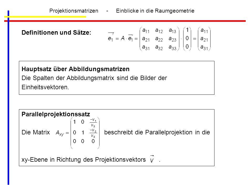 Projektionsmatrizen - Einblicke in die Raumgeometrie Definitionen und Sätze: Hauptsatz über Abbildungsmatrizen Die Spalten der Abbildungsmatrix sind d