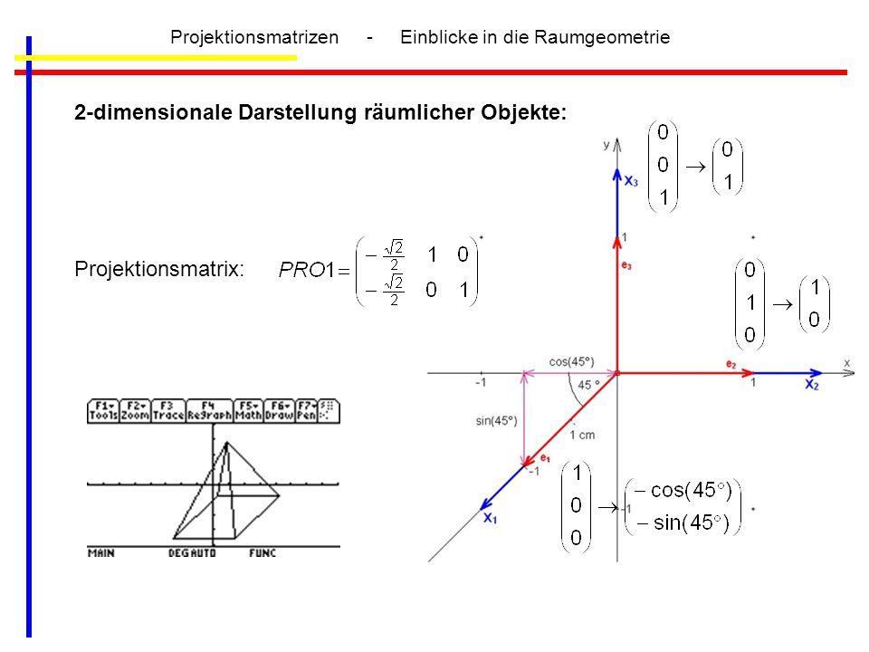 Projektionsmatrizen - Einblicke in die Raumgeometrie 2-dimensionale Darstellung räumlicher Objekte: Projektionsmatrix: