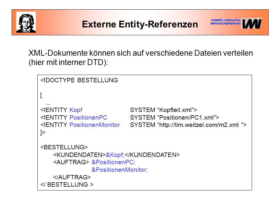 Externe Entity-Referenzen <!DOCTYPE BESTELLUNG [... ]> &Kopf; &PositionenPC; &PositionenMonitor; XML-Dokumente können sich auf verschiedene Dateien ve