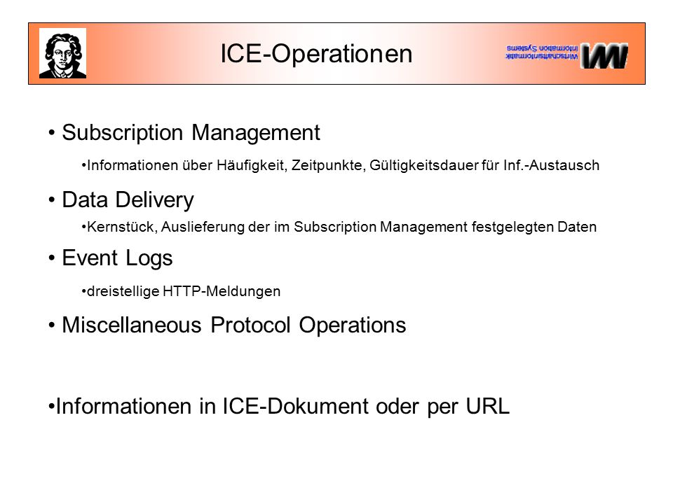 ICE-Operationen Subscription Management Informationen über Häufigkeit, Zeitpunkte, Gültigkeitsdauer für Inf.-Austausch Data Delivery Kernstück, Auslieferung der im Subscription Management festgelegten Daten Event Logs dreistellige HTTP-Meldungen Miscellaneous Protocol Operations Informationen in ICE-Dokument oder per URL