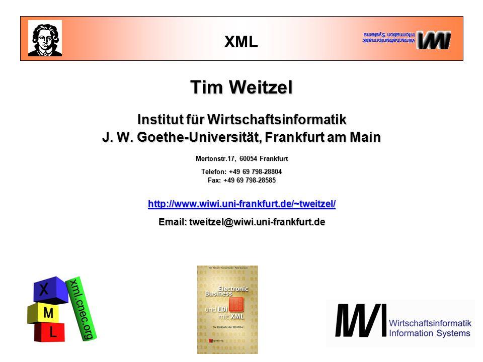 Übersicht: Vertiefungsworkshop 09.30 – 10.30  Basiswissen für Fortgeschrittene Basiswissen für Fortgeschrittene  Entities, Namespaces, XLL, XML Schema, Validierung, Tools EntitiesNamespacesXLLXML SchemaValidierungTools 11.00 - 12.30  XML at work  XQL, DOM, XSL, XSLT 13.30 - 15.00  XML-Anwendungen und Trends XML-Anwendungen und Trends  XML im E-Business: Anwendungsszenarien und Beispiele XML im E-Business  XML/EDI XML/EDI  Stand der Standardisierung: BizTalk, ebXML, cXML, UDDI etc.