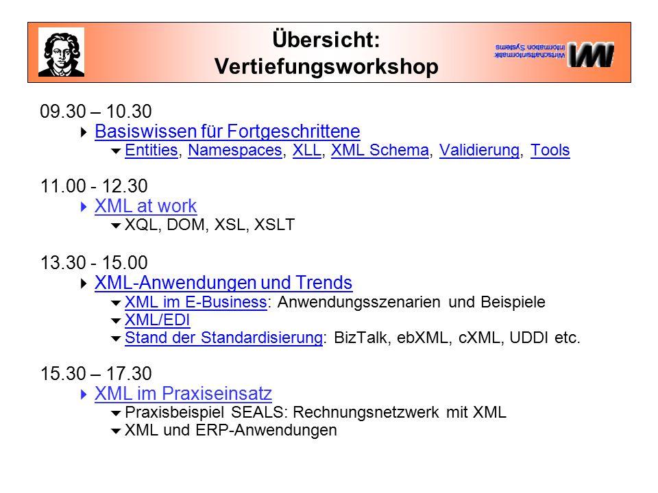 """XML Schemata  Die W3C Schema Working Group hat vier Vorschläge diskutiert  Microsofts XML-Data ([W3C_XMLData 1998], Januar 1998)  DCD von IBM und Microsoft ([W3C_DCD 1998], August 1998)  SOX ([W3C_SOX September 1998, ergänzt Juli 1999], Juli 1999)  DDML ([W3C_DDML 1999], Nachfolger von XML-DEV`s Xschema, Januar 1999)  Die aktuellen Arbeiten an Schemata befinden sich im Stadium """"Proposed Recommendation"""