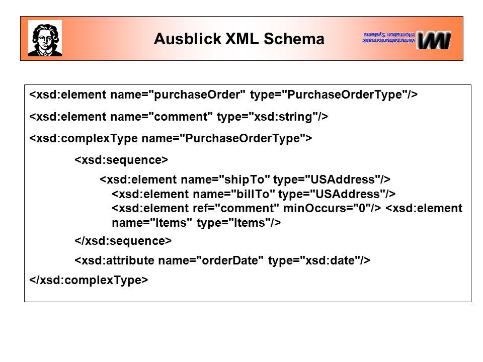 Ausblick XML Schema