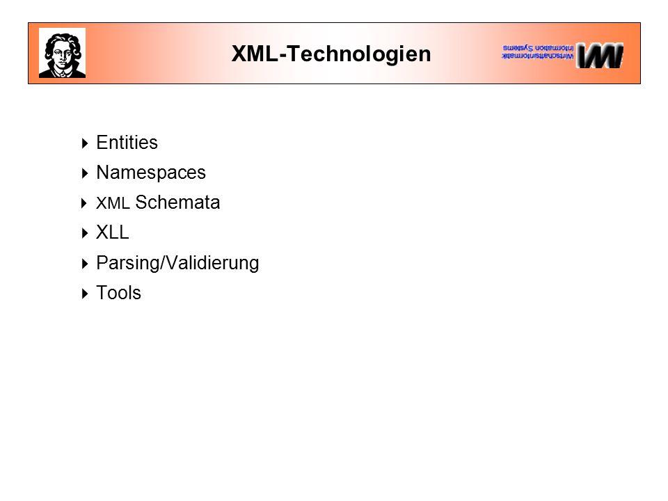 Namespaces in XML <BEISPIEL xmlns:h= http://www.w3.org/html4 xmlns:b= http://www.mein.server.de/bibliographie xmlns:p= http://www.mein.server.de/person > Meine Text Ein Buch No Dr.