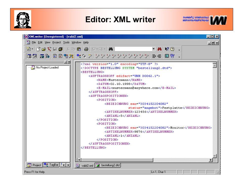 Editor: XML writer