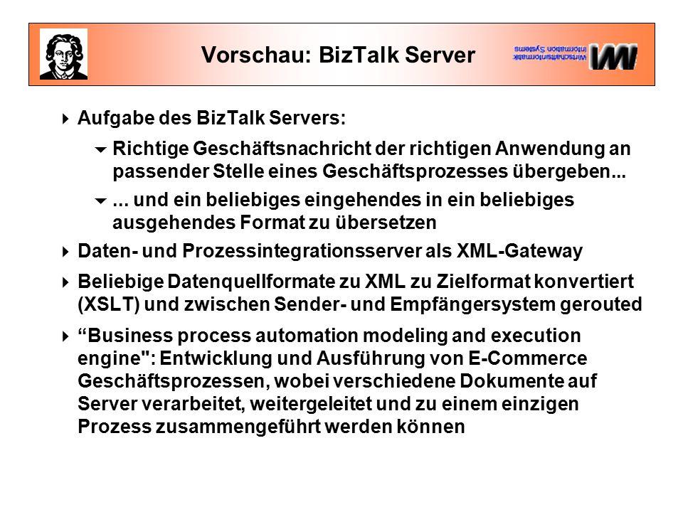 Vorschau: BizTalk Server  Aufgabe des BizTalk Servers:  Richtige Geschäftsnachricht der richtigen Anwendung an passender Stelle eines Geschäftsprozesses übergeben...
