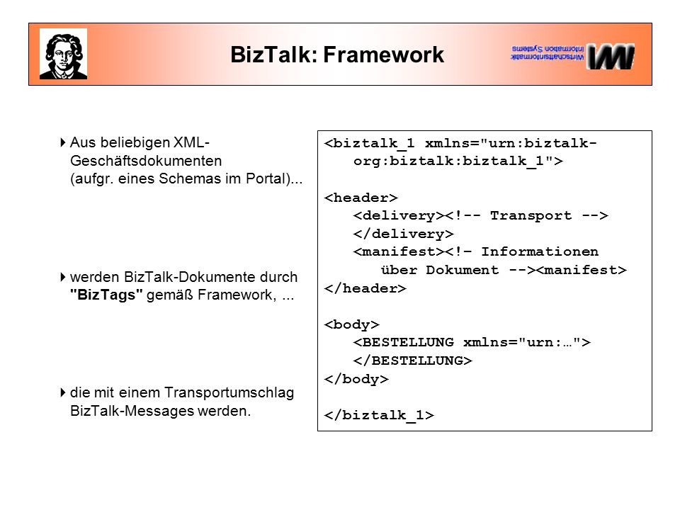 BizTalk: Framework  Aus beliebigen XML- Geschäftsdokumenten (aufgr.