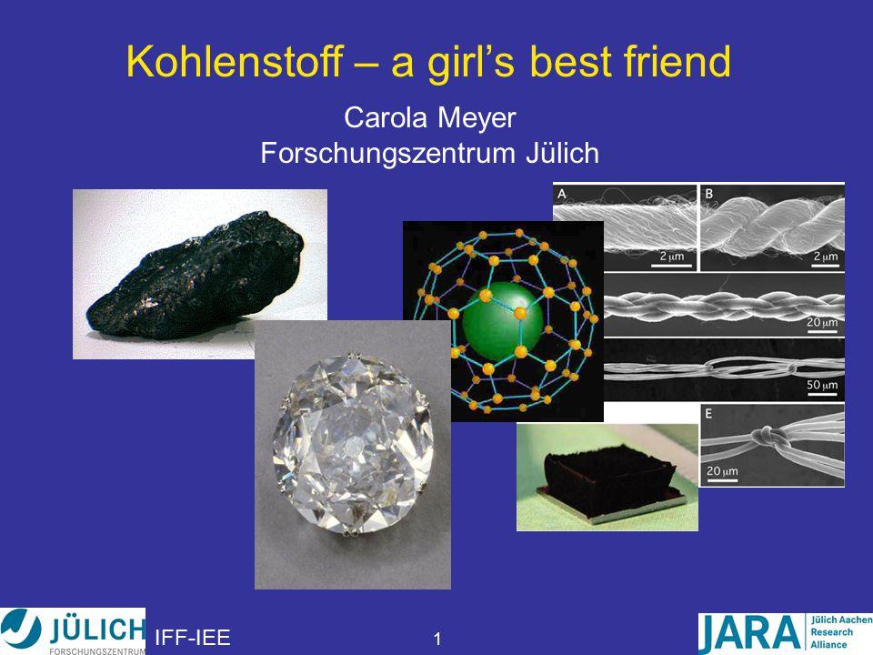 IFF-IEE 1 Kohlenstoff – a girl's best friend Carola Meyer Forschungszentrum Jülich
