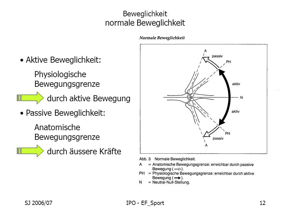 SJ 2006/07IPO - EF_Sport12 Beweglichkeit normale Beweglichkeit Aktive Beweglichkeit: Physiologische Bewegungsgrenze durch aktive Bewegung Passive Bewe