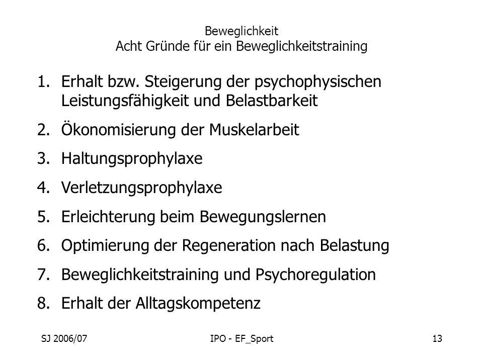SJ 2006/07IPO - EF_Sport13 Beweglichkeit Acht Gründe für ein Beweglichkeitstraining 1.Erhalt bzw. Steigerung der psychophysischen Leistungsfähigkeit u