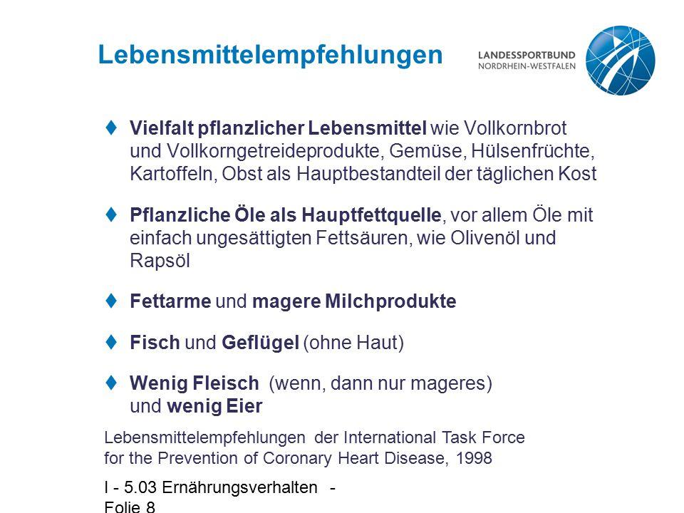 I - 5.03 Ernährungsverhalten - Folie 9 Ernährungsempfehlungen  Verringerung der gesättigten Fettsäuren (nicht mehr als 7 – 10 E %)  Verringerung des Gesamtfettes (nicht mehr als 30 E %)  Mäßige Erhöhung der einfach und mehrfach ungesättigten Fettsäuren, insbesondere der einfach ungesättigten Fettsäuren – einfach ungesättigte Fettsäuren: 10 – 15 E % – mehrfach ungesättigte Fettsäuren: 7 – 8 E %  Vermehrte Zufuhr von komplexen Kohlenhydraten und Ballaststoffen, vor allem löslicher Ballaststoffe (Kohlenhydrate mehr als 50 E%; Ballaststoffe mehr als 25 g pro Tag)  Verringerung der Cholesterinzufuhr (weniger als 300 mg pro Tag) [E % = Kalorien %] Lebensmittelempfehlungen der International Task Force for the Prevention of Coronary Heart Disease, 1998