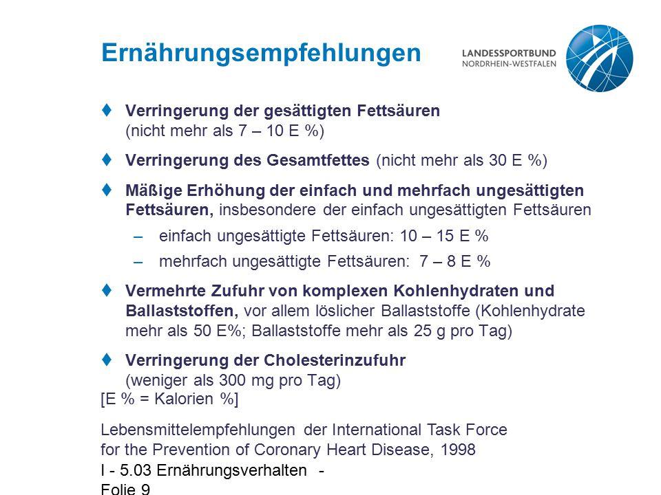 I - 5.03 Ernährungsverhalten - Folie 9 Ernährungsempfehlungen  Verringerung der gesättigten Fettsäuren (nicht mehr als 7 – 10 E %)  Verringerung des