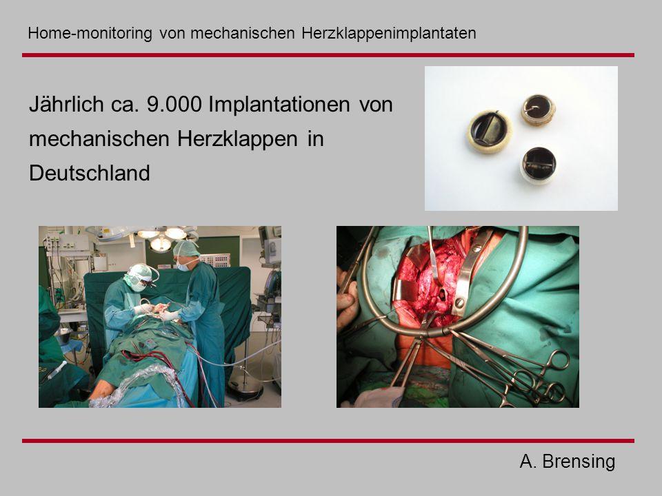 A. Brensing Jährlich ca. 9.000 Implantationen von mechanischen Herzklappen in Deutschland Home-monitoring von mechanischen Herzklappenimplantaten