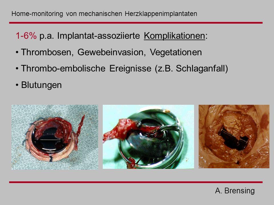 A. Brensing 1-6% p.a. Implantat-assoziierte Komplikationen: Thrombosen, Gewebeinvasion, Vegetationen Thrombo-embolische Ereignisse (z.B. Schlaganfall)