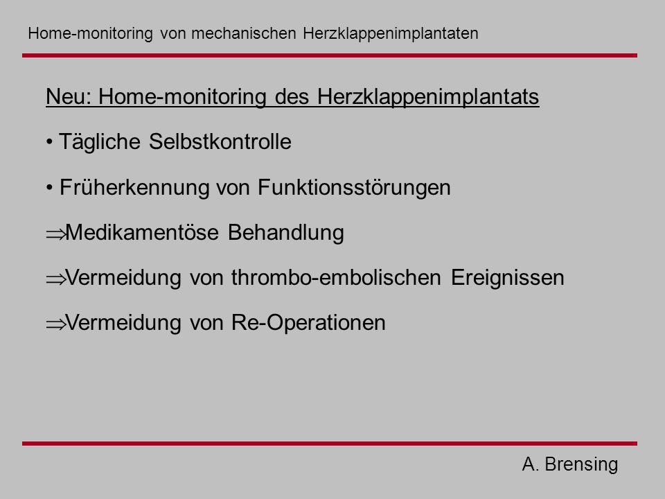 A. Brensing Neu: Home-monitoring des Herzklappenimplantats Tägliche Selbstkontrolle Früherkennung von Funktionsstörungen  Medikamentöse Behandlung 