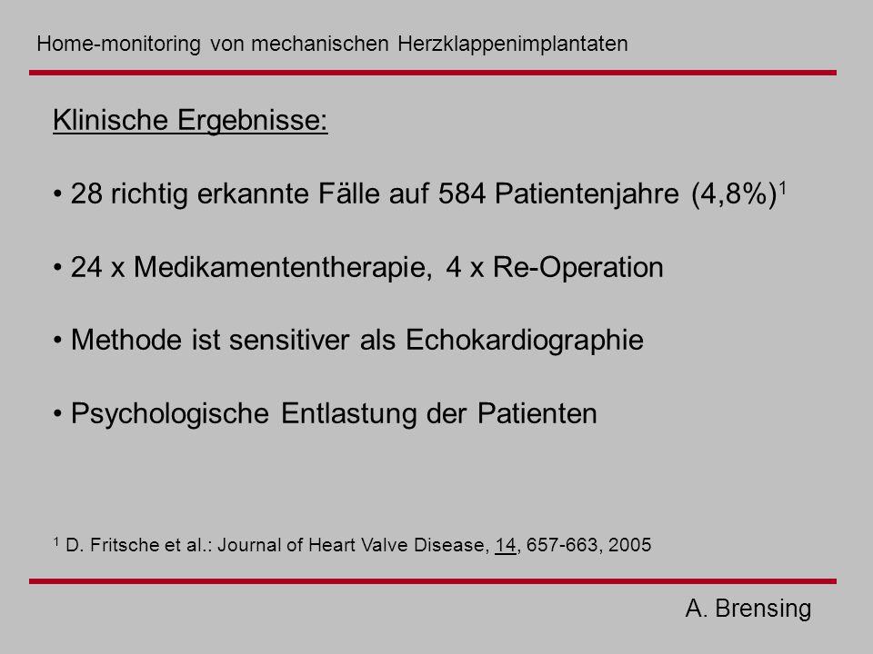 A. Brensing Klinische Ergebnisse: 28 richtig erkannte Fälle auf 584 Patientenjahre (4,8%) 1 24 x Medikamententherapie, 4 x Re-Operation Methode ist se