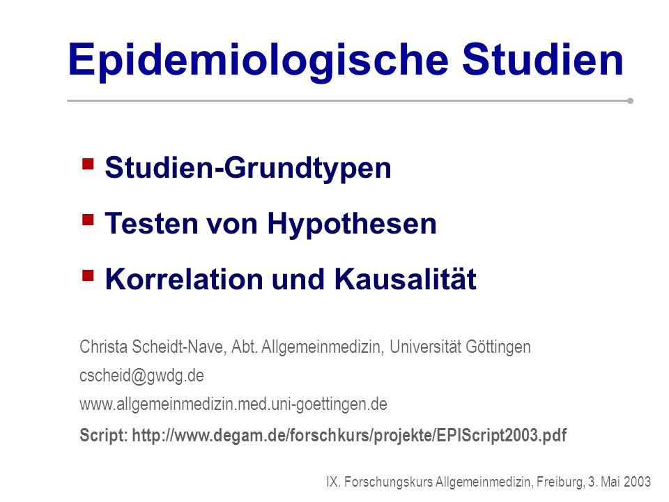  Studien-Grundtypen Christa Scheidt-Nave, Abt. Allgemeinmedizin, Universität Göttingen cscheid@gwdg.de www.allgemeinmedizin.med.uni-goettingen.de Scr