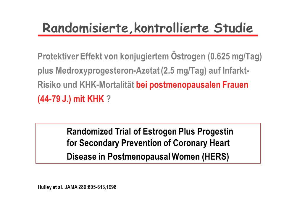 Protektiver Effekt von konjugiertem Östrogen (0.625 mg/Tag) plus Medroxyprogesteron-Azetat (2.5 mg/Tag) auf Infarkt- Risiko und KHK-Mortalität bei pos