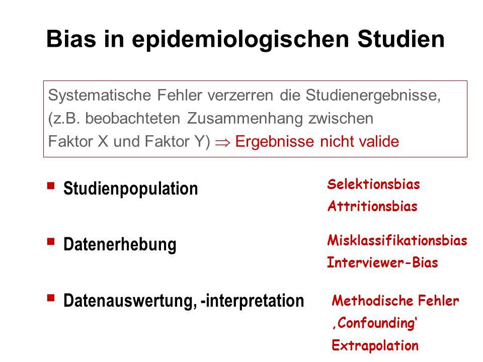 Bias in epidemiologischen Studien Systematische Fehler verzerren die Studienergebnisse, (z.B. beobachteten Zusammenhang zwischen Faktor X und Faktor Y