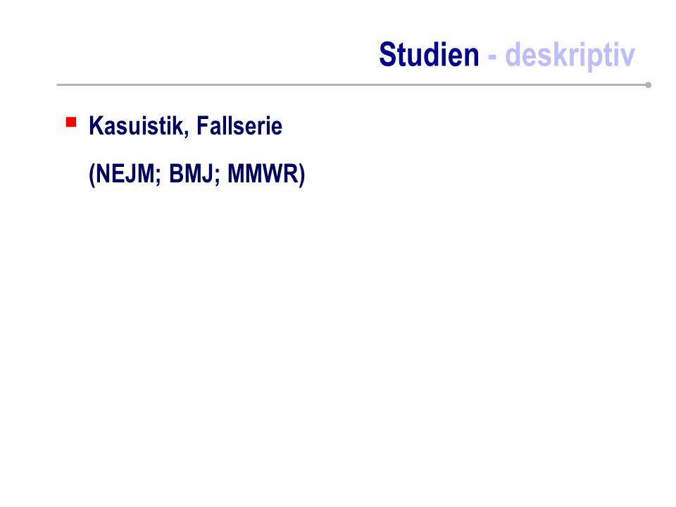 Studien - deskriptiv  Kasuistik, Fallserie (NEJM; BMJ; MMWR)