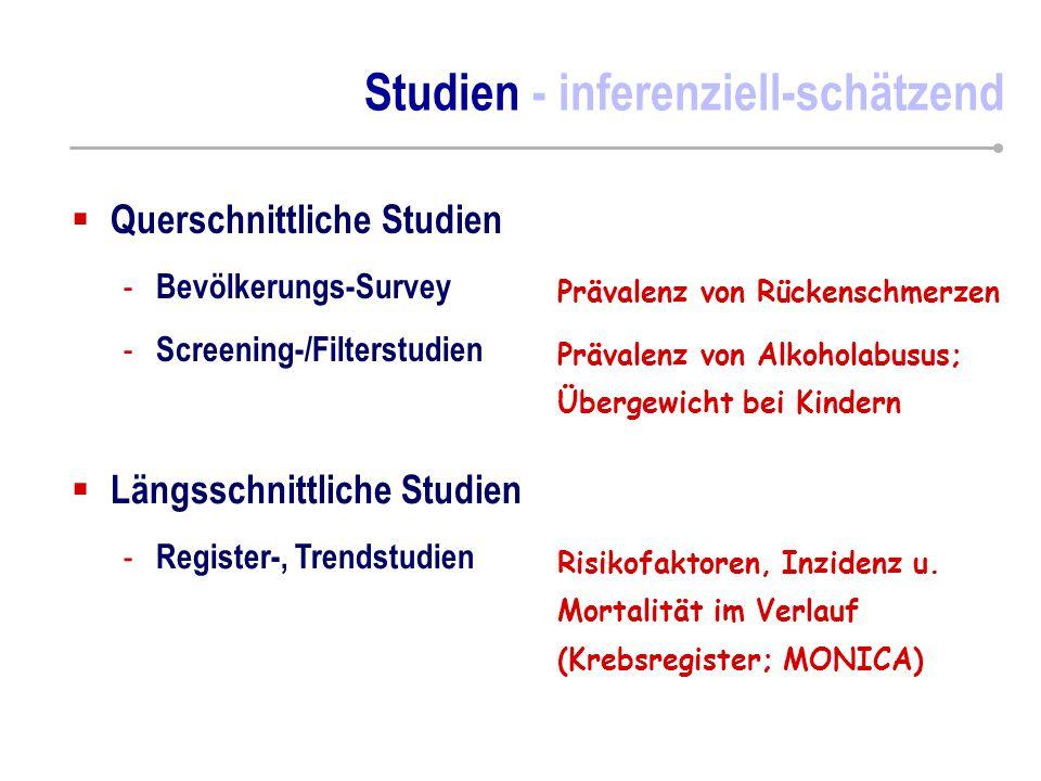 Studien - inferenziell-schätzend  Querschnittliche Studien - Bevölkerungs-Survey - Screening-/Filterstudien  Längsschnittliche Studien - Register-,