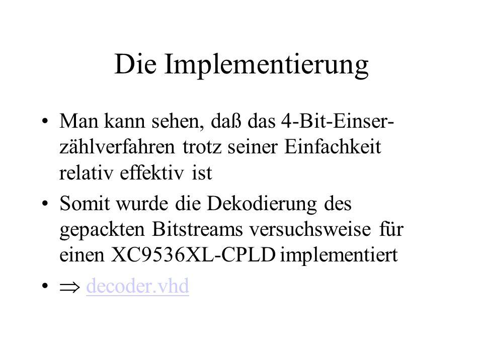 Die Implementierung Man kann sehen, daß das 4-Bit-Einser- zählverfahren trotz seiner Einfachkeit relativ effektiv ist Somit wurde die Dekodierung des gepackten Bitstreams versuchsweise für einen XC9536XL-CPLD implementiert  decoder.vhddecoder.vhd