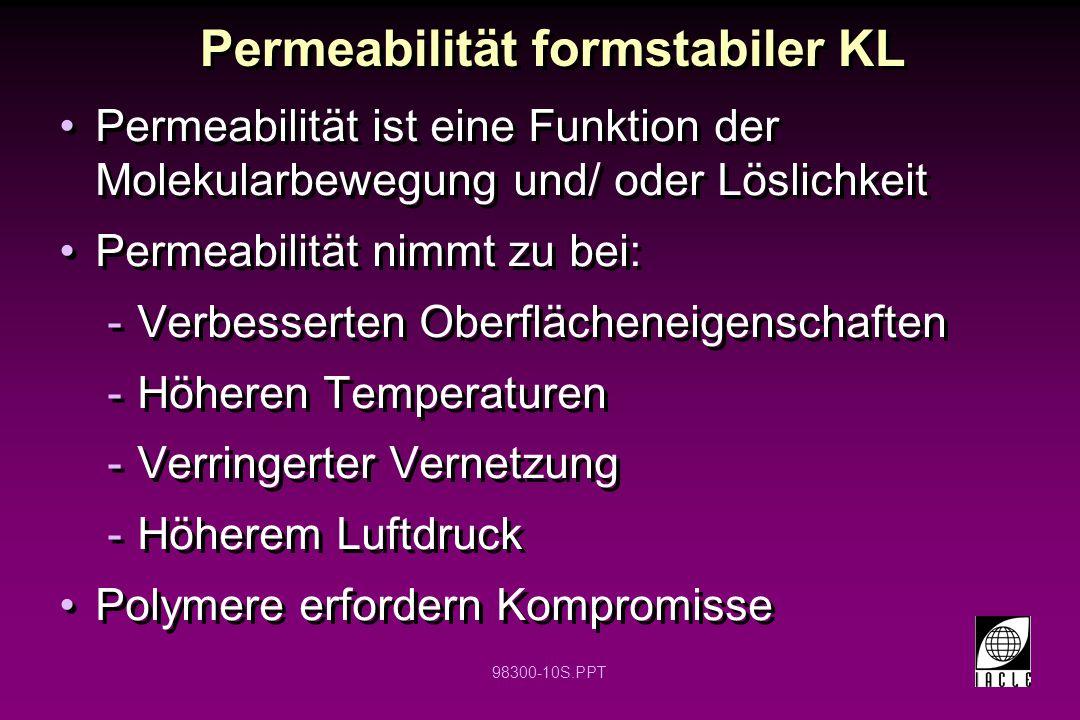 98300-10S.PPT Permeabilität formstabiler KL Permeabilität ist eine Funktion der Molekularbewegung und/ oder Löslichkeit Permeabilität nimmt zu bei: -V