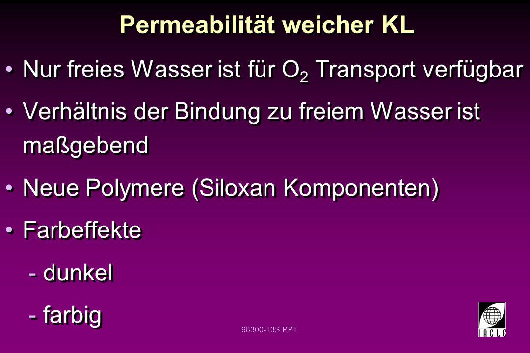 98300-13S.PPT Nur freies Wasser ist für O 2 Transport verfügbar Verhältnis der Bindung zu freiem Wasser ist maßgebend Neue Polymere (Siloxan Komponent