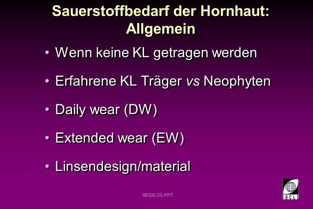 98300-2S.PPT Sauerstoffbedarf der Hornhaut: Allgemein Wenn keine KL getragen werden Erfahrene KL Träger vs Neophyten Daily wear (DW) Extended wear (EW