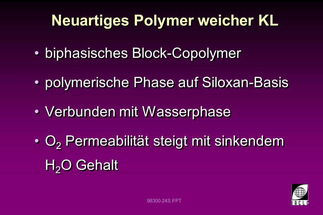 98300-24S.PPT Neuartiges Polymer weicher KL biphasisches Block-Copolymer polymerische Phase auf Siloxan-Basis Verbunden mit Wasserphase O 2 Permeabili