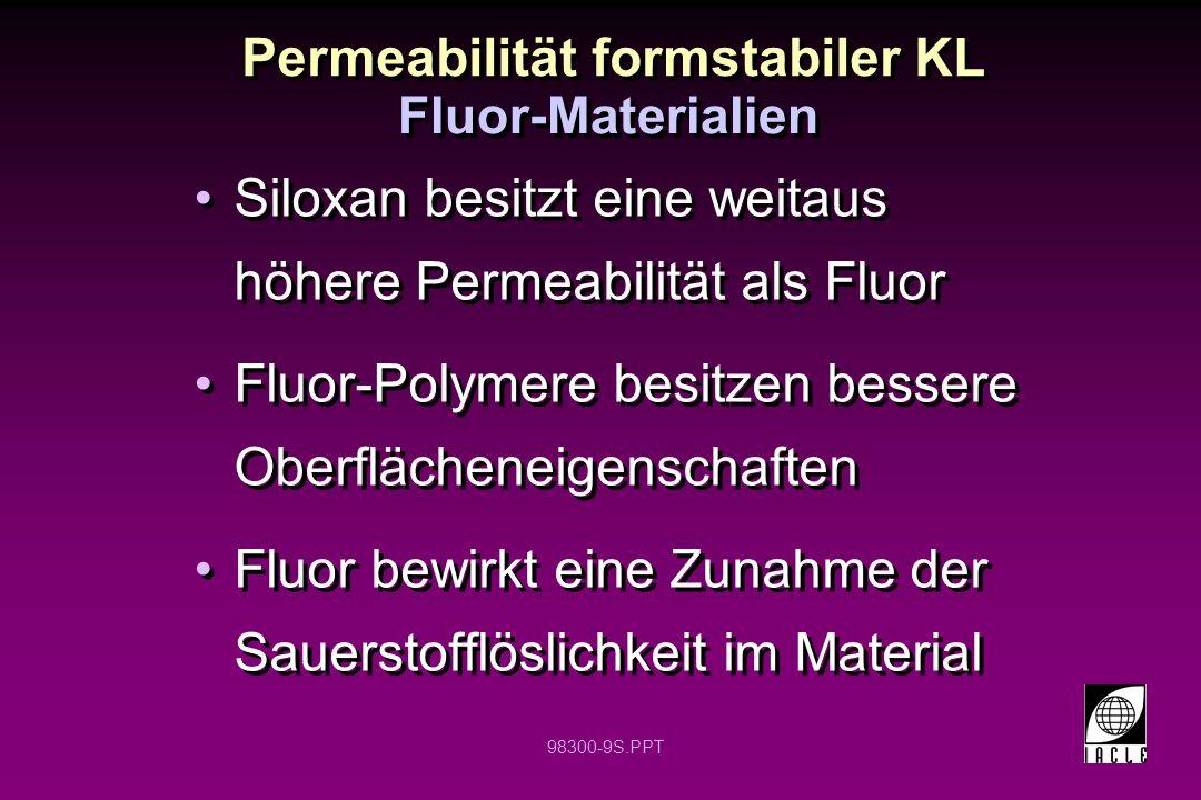 98300-9S.PPT Permeabilität formstabiler KL Siloxan besitzt eine weitaus höhere Permeabilität als Fluor Fluor-Polymere besitzen bessere Oberflächeneige