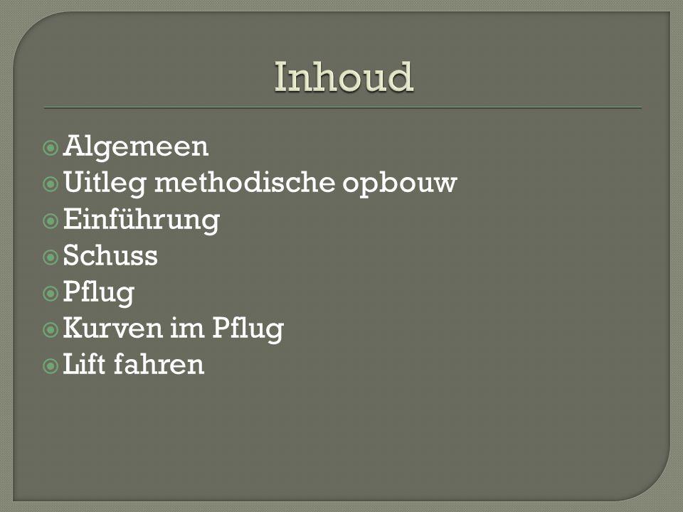  Algemeen  Uitleg methodische opbouw  Einführung  Schuss  Pflug  Kurven im Pflug  Lift fahren