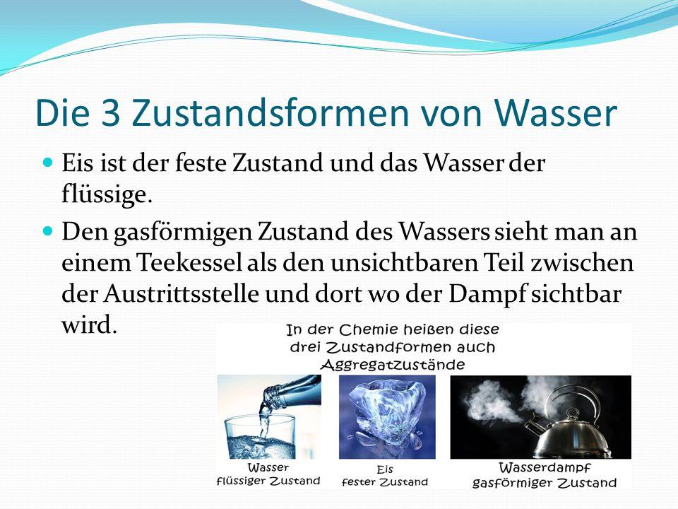 Die 3 Zustandsformen von Wasser Eis ist der feste Zustand und das Wasser der flüssige. Den gasförmigen Zustand des Wassers sieht man an einem Teekesse