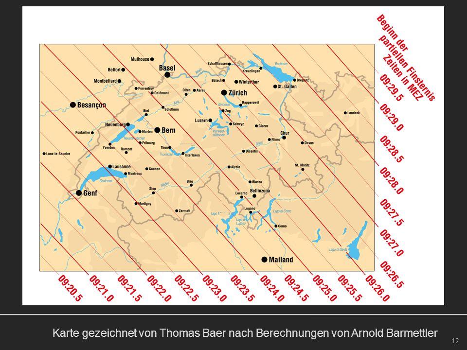Karte gezeichnet von Thomas Baer nach Berechnungen von Arnold Barmettler 12