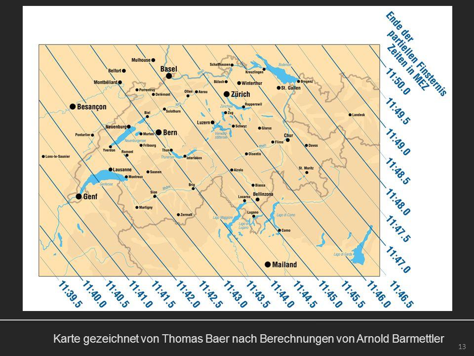 Karte gezeichnet von Thomas Baer nach Berechnungen von Arnold Barmettler 13