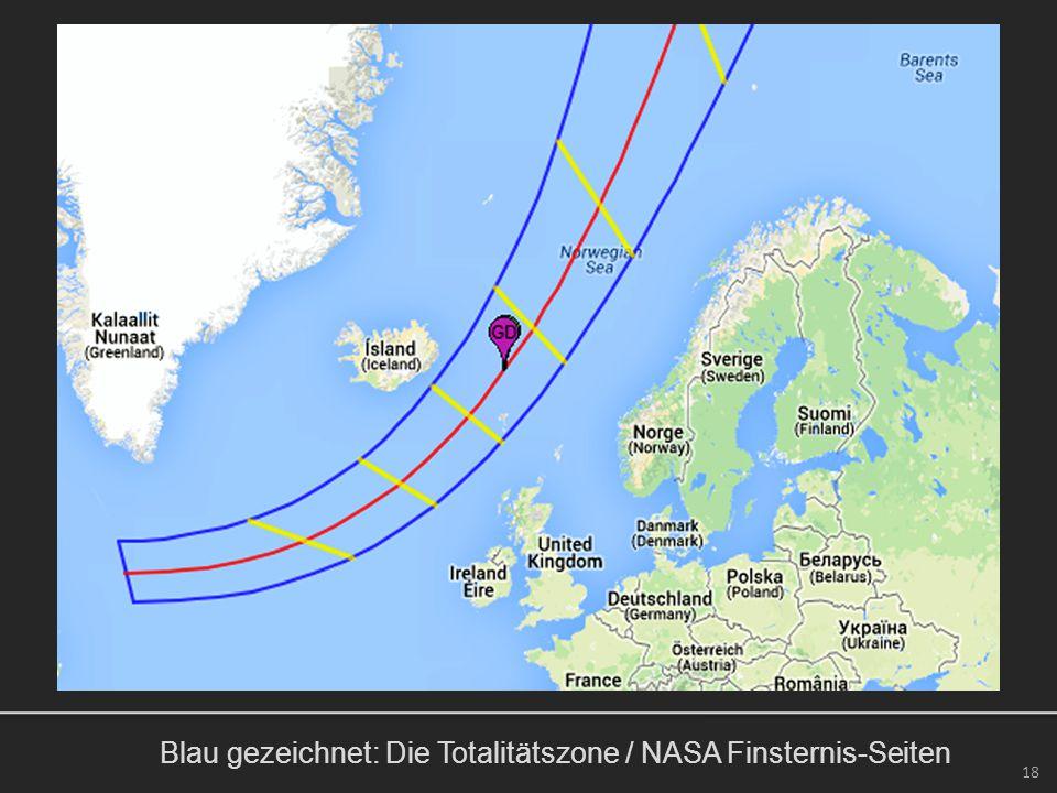 Blau gezeichnet: Die Totalitätszone / NASA Finsternis-Seiten 18