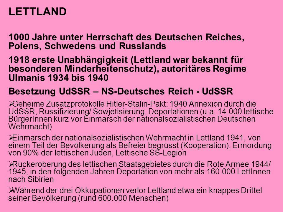 LETTLAND 1000 Jahre unter Herrschaft des Deutschen Reiches, Polens, Schwedens und Russlands 1918 erste Unabhängigkeit (Lettland war bekannt für besond