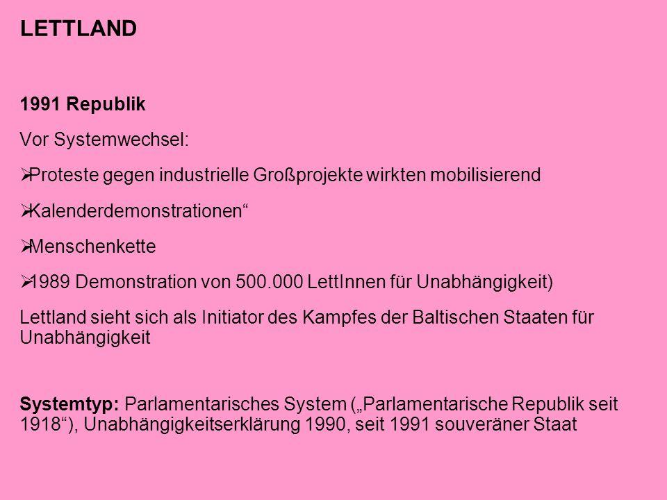 """LETTLAND 1991 Republik Vor Systemwechsel:  Proteste gegen industrielle Großprojekte wirkten mobilisierend  Kalenderdemonstrationen""""  Menschenkette"""