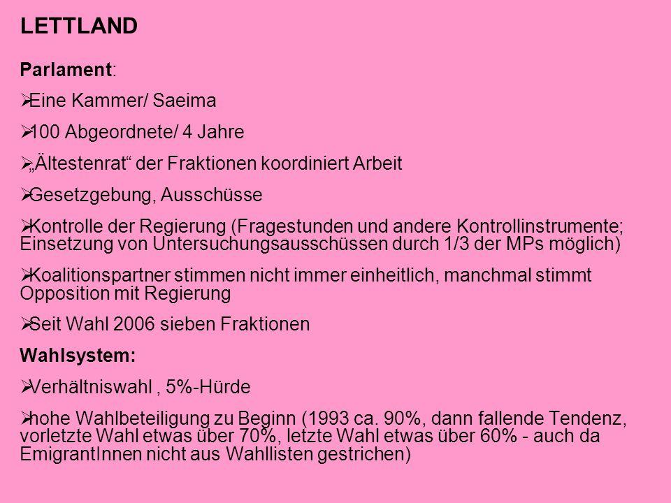 """LETTLAND Parlament:  Eine Kammer/ Saeima  100 Abgeordnete/ 4 Jahre  """"Ältestenrat"""" der Fraktionen koordiniert Arbeit  Gesetzgebung, Ausschüsse  Ko"""