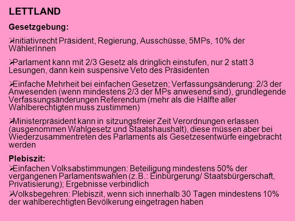 LETTLAND Gesetzgebung:  Initiativrecht Präsident, Regierung, Ausschüsse, 5MPs, 10% der WählerInnen  Parlament kann mit 2/3 Gesetz als dringlich eins