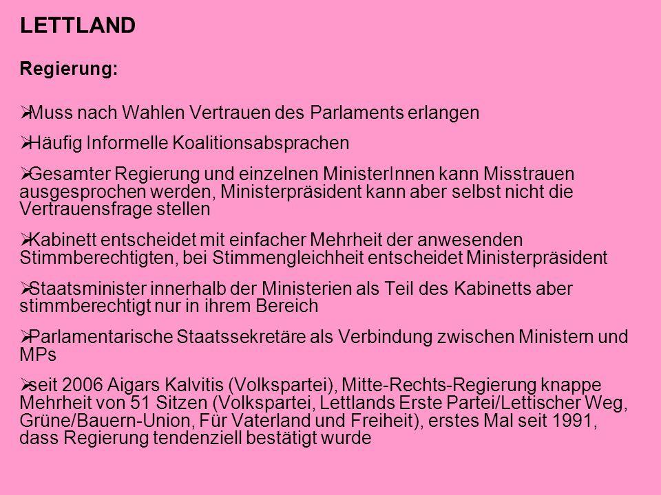 LETTLAND Regierung:  Muss nach Wahlen Vertrauen des Parlaments erlangen  Häufig Informelle Koalitionsabsprachen  Gesamter Regierung und einzelnen M