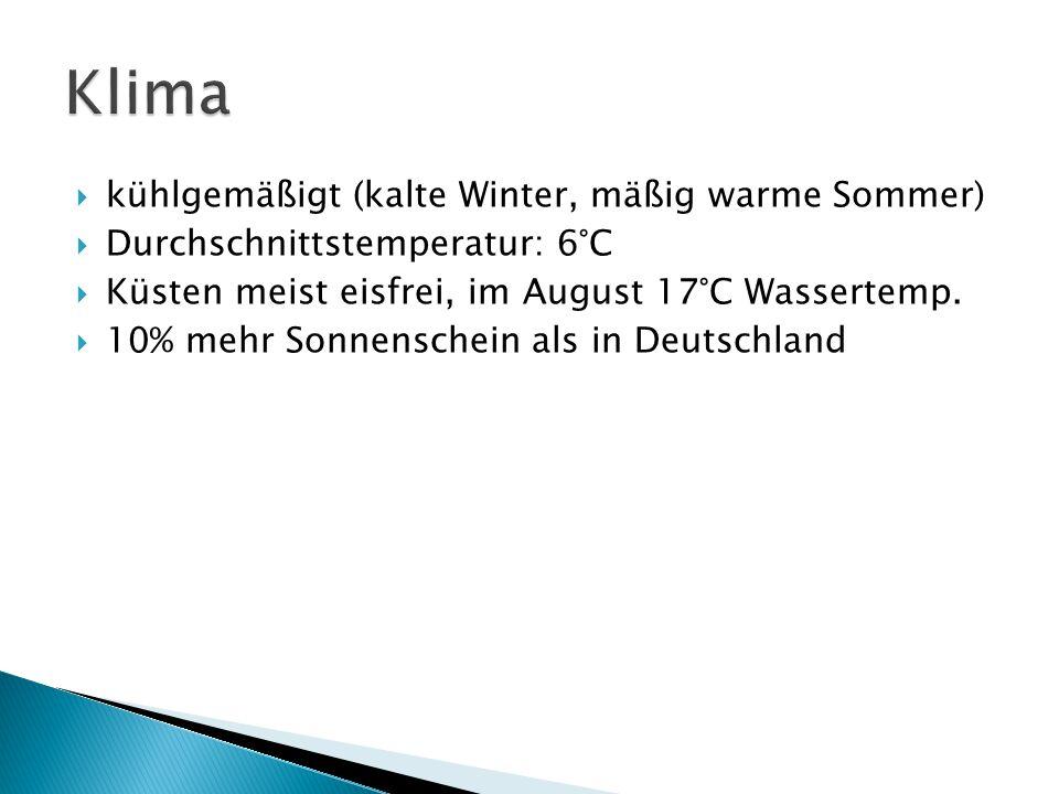  kühlgemäßigt (kalte Winter, mäßig warme Sommer)  Durchschnittstemperatur: 6°C  Küsten meist eisfrei, im August 17°C Wassertemp.