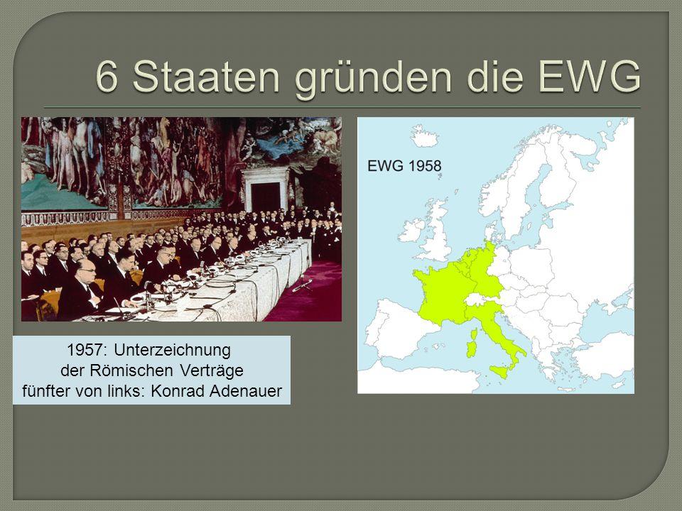 1957: Unterzeichnung der Römischen Verträge fünfter von links: Konrad Adenauer