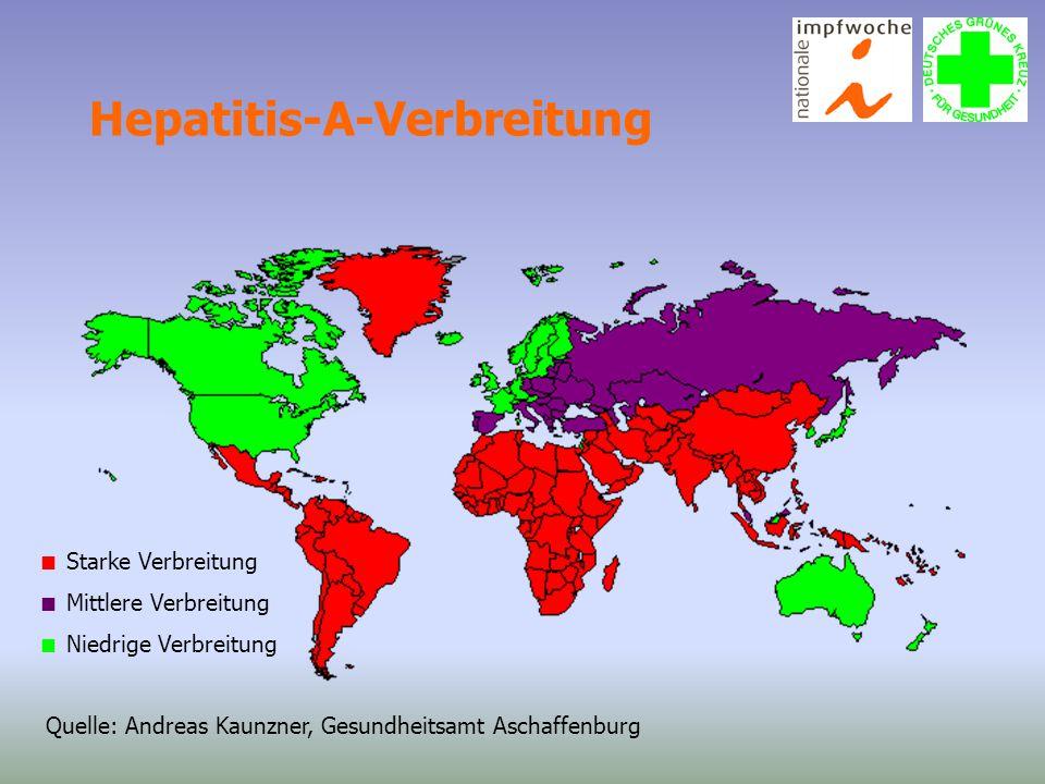 Hepatitis-A-Verbreitung Quelle: Andreas Kaunzner, Gesundheitsamt Aschaffenburg  Starke Verbreitung  Mittlere Verbreitung  Niedrige Verbreitung