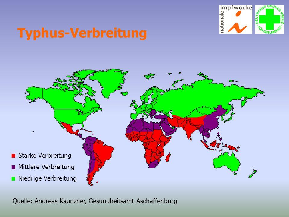 Typhus-Verbreitung  Starke Verbreitung  Mittlere Verbreitung  Niedrige Verbreitung Quelle: Andreas Kaunzner, Gesundheitsamt Aschaffenburg