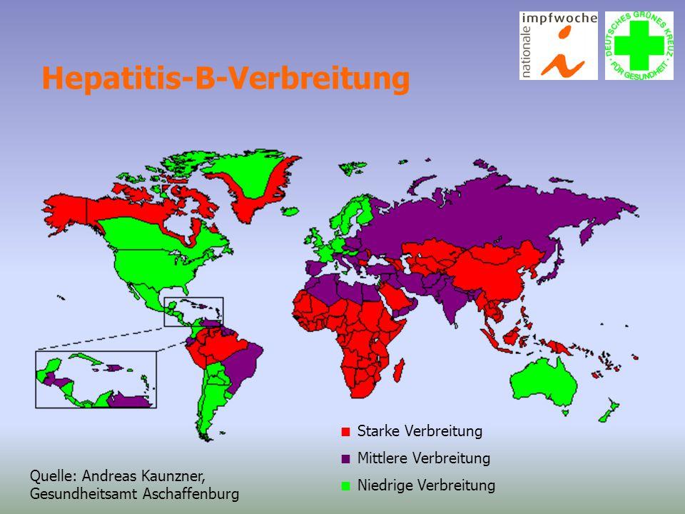 Hepatitis-B-Verbreitung  Starke Verbreitung  Mittlere Verbreitung  Niedrige Verbreitung Quelle: Andreas Kaunzner, Gesundheitsamt Aschaffenburg